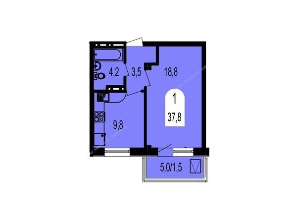 Планировки Жилой комплекс ТИХИЕ ЗОРИ мкр, 1 дом (Красстрой) - Планировка однокомнатной квартиры 37,8 кв.м