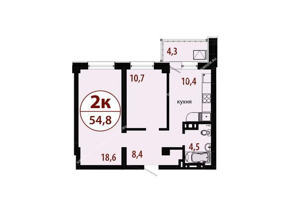 Планировки новостроек БЕЛЫЕ РОСЫ МКР, 25 дом - Секция 1. Планировка двухкомнатной квартиры 54,8 кв.м