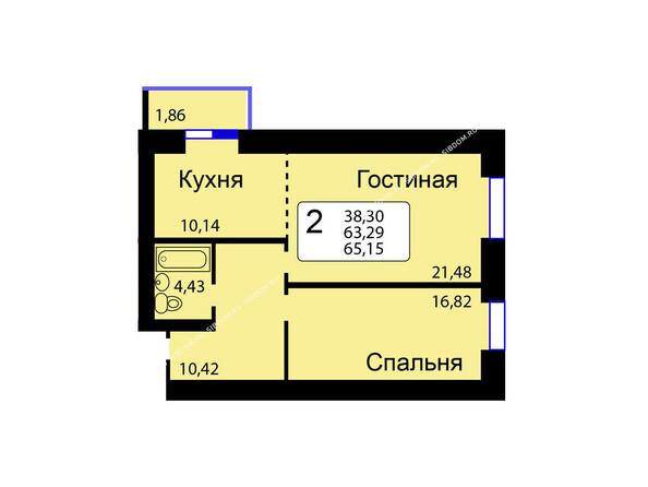 Планировки новостроек РЯБИНОВЫЙ САД ж/к, 3 оч, 2 этап - Б/С - 11. Планировка двухкомнатной квартиры 65,15 кв.м. Этажи 1-9.