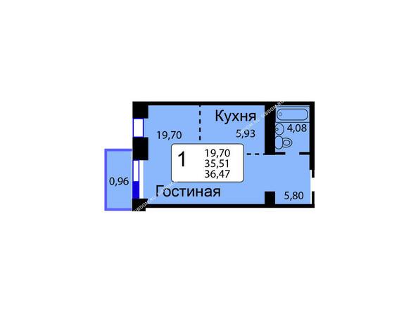 Планировки новостроек РЯБИНОВЫЙ САД ж/к, 3 оч, 2 этап - Б/С - 11. Планировка однокомнатной квартиры 36,47 кв.м. Этажи 1-9.