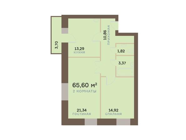 Планировки Жилой комплекс ЮЖНЫЙ БЕРЕГ мкр, 17 дом - Планировка двухкомнатной квартиры 66,71 кв.м
