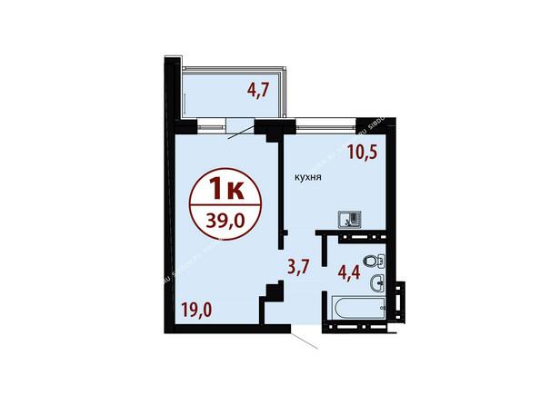 БЕЛЫЕ РОСЫ мкр, 26 дом: Секция №1. Планировка однокомнатной квартиры 39,0 кв.м