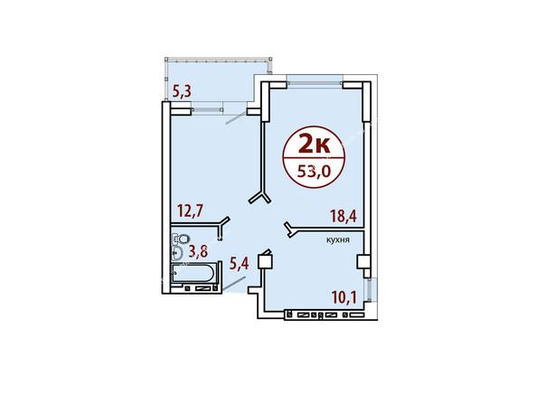 Планировки Жилой комплекс БЕЛЫЕ РОСЫ МКР, 22 дом - Секция №2. Планировка двухкомнатной квартиры 53,0 кв.м