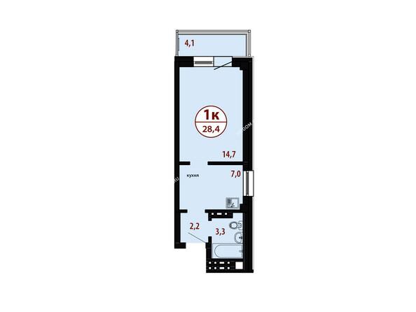 БЕЛЫЕ РОСЫ мкр, 26 дом: Секция №4. Планировка однокомнатной квартиры 28,4 кв.м