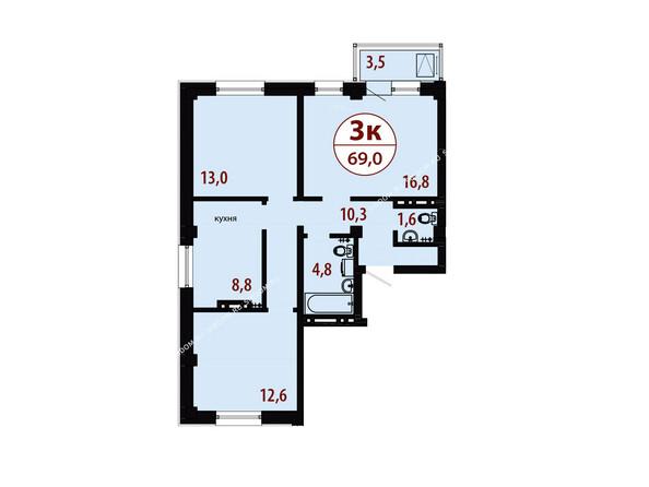 Планировки новостроек СЕРЕБРЯНЫЙ мкр, квр 1, 1 дом - Секция 1. Планировка трехкомнатной квартиры 69,0 кв.м