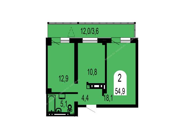 Планировки Жилой комплекс ТИХИЕ ЗОРИ мкр, 1 дом (Красстрой) - Планировка двухкомнатной квартиры 54,9 кв.м
