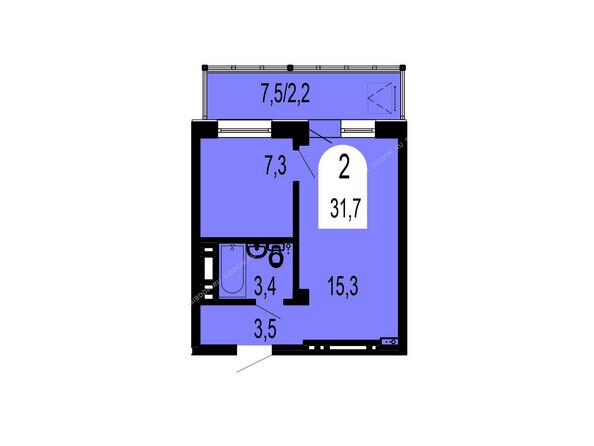 Планировки Жилой комплекс ТИХИЕ ЗОРИ мкр, 1 дом (Красстрой) - Планировка двухкомнатной квартиры 31,7 кв.м