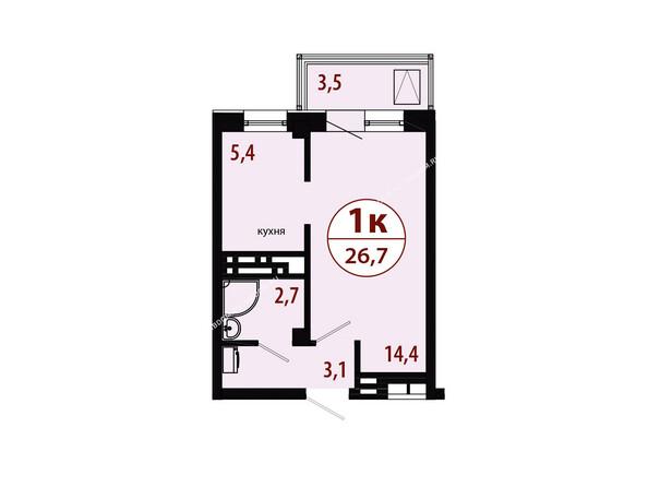 Планировки новостроек СЕРЕБРЯНЫЙ мкр, квр 1, 1 дом - Секция 2. Планировка однокомнатной квартиры 26,7 кв.м