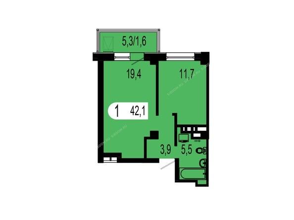 Планировки Жилой комплекс ТИХИЕ ЗОРИ мкр, 1 дом (Красстрой) - Планировка однокомнатной квартиры 42,1 кв.м