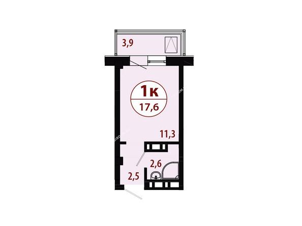 Секция 2. Планировка однокомнатной квартиры 17,6 кв.м