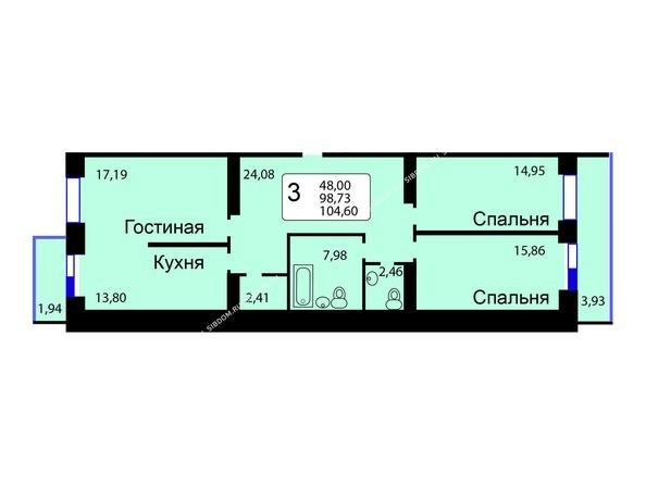 Планировки новостроек РЯБИНОВЫЙ САД ж/к, 3 оч, 2 этап - Б/С - 11. Планировка трехкомнатной квартиры 104,60 кв.м. Этажи 1-9.