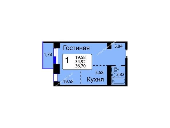 Планировки новостроек РЯБИНОВЫЙ САД ж/к, 3 оч, 2 этап - Б/С - 11. Планировка однокомнатной квартиры 36,70 кв.м. Этажи 1-9.