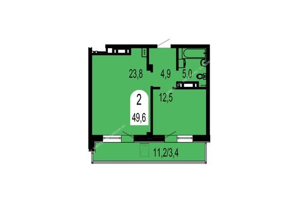 Планировки Жилой комплекс ТИХИЕ ЗОРИ мкр, 1 дом (Красстрой) - Планировка двухкомнатной квартиры 49,6 кв.м