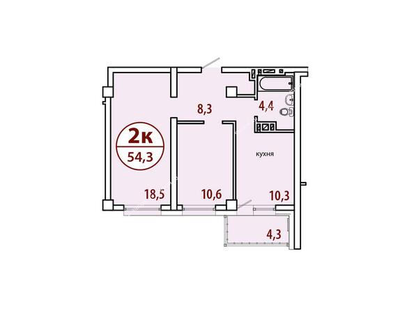 Планировки Жилой комплекс БЕЛЫЕ РОСЫ МКР, 22 дом - Секция №2. Планировка двухкомнатной квартиры 54,3 кв.м