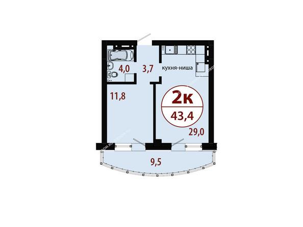 Планировки новостроек БЕЛЫЕ РОСЫ МКР, 25 дом - Секция 1. Планировка двухкомнатной квартиры 43,4 кв.м