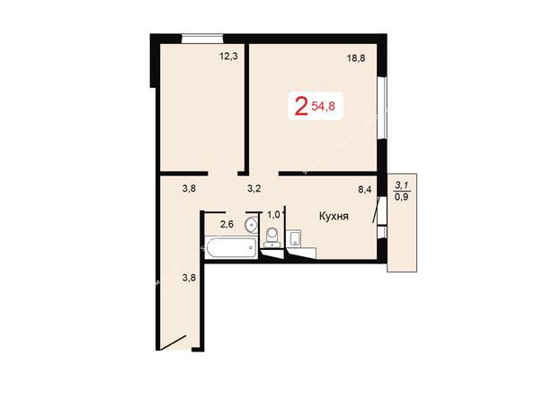 Планировки Жилой комплекс ТИХИЕ ЗОРИ мкр, 2 дом - Планировка двухкомнатной квартиры 54,8 кв.м