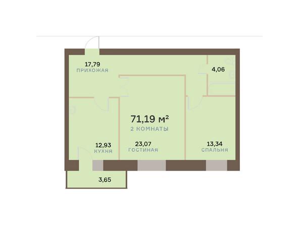 Планировки Жилой комплекс ЮЖНЫЙ БЕРЕГ мкр, 17 дом - Планировка двухкомнатной квартиры 72,28 кв.м