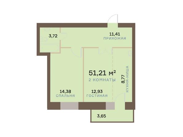 Планировки Жилой комплекс ЮЖНЫЙ БЕРЕГ мкр, 17 дом - Планировка двухкомнатной квартиры 52,3 кв.м