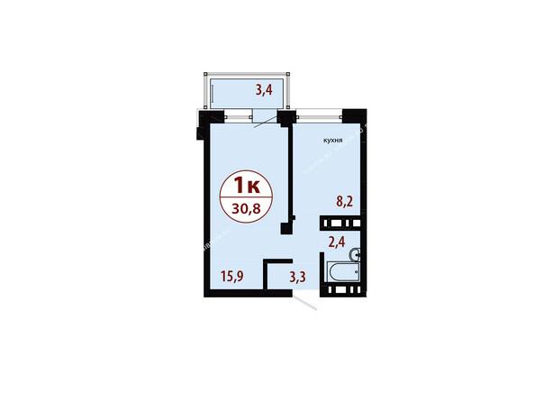 Планировки новостроек СЕРЕБРЯНЫЙ мкр, квр 1, 1 дом - Секция 3. Планировка однокомнатной квартиры 30,8 кв.м