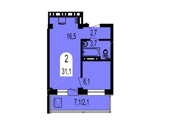 Планировки Жилой комплекс ТИХИЕ ЗОРИ мкр, 1 дом (Красстрой) - Планировка двухкомнатной квартиры 31,1 кв.м