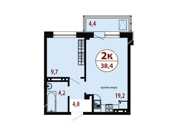 СЕРЕБРЯНЫЙ мкр, квр 1, 1 дом: Секция 2. Планировка двухкомнатной квартиры 38,4 кв.м