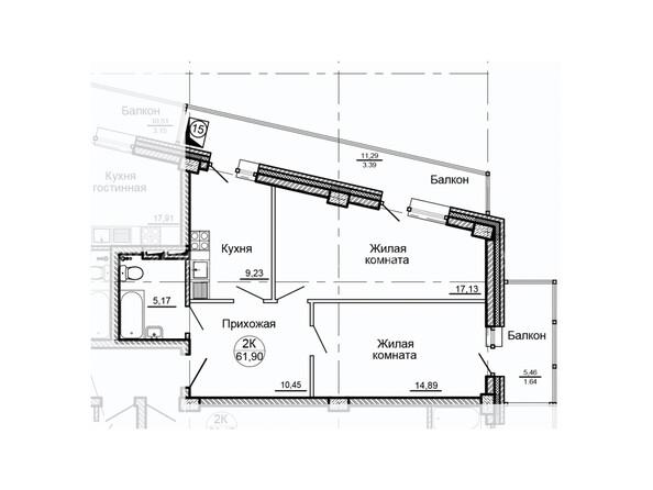 Планировки Жилой комплекс ГЛОБУС ж/к, 7 дом - Планировка двухкомнатной квартиры 61,90 кв.м