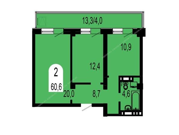 Планировки Жилой комплекс ТИХИЕ ЗОРИ мкр, 1 дом (Красстрой) - Планировка двухкомнатной квартиры 60,6 кв.м