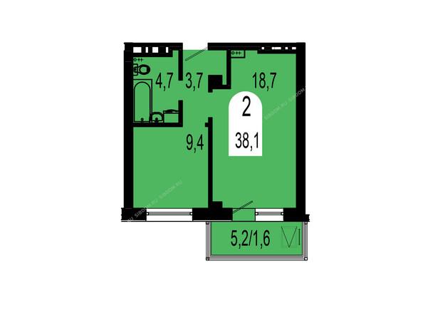 Планировки Жилой комплекс ТИХИЕ ЗОРИ мкр, 1 дом (Красстрой) - Планировка двухкомнатной квартиры 38,1 кв.м