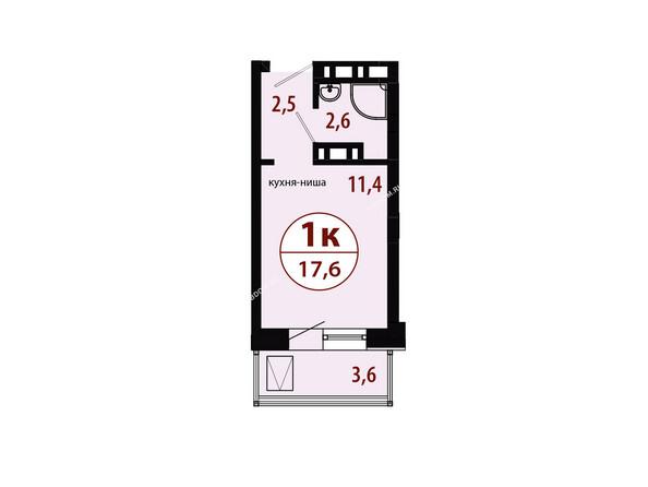 СЕРЕБРЯНЫЙ мкр, квр 1, 1 дом: Секция 2. Планировка однокомнатной квартиры 17,6 кв.м