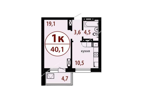 Планировки новостроек БЕЛЫЕ РОСЫ МКР, 25 дом - Секция 2. Планировка однокомнатной квартиры 40,1 кв.м