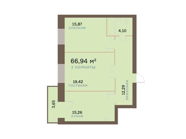Планировки Жилой комплекс ЮЖНЫЙ БЕРЕГ мкр, 17 дом - Планировка двухкомнатной квартиры 68,03 кв.м
