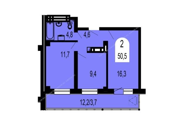 Планировки Жилой комплекс ТИХИЕ ЗОРИ мкр, 1 дом (Красстрой) - Планировка двухкомнатной квартиры 50,5 кв.м