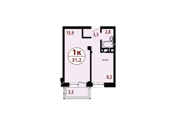 Планировки новостроек СЕРЕБРЯНЫЙ мкр, квр 1, 1 дом - Секция 3. Планировка однокомнатной квартиры 31,2 кв.м