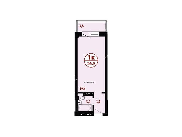 БЕЛЫЕ РОСЫ мкр, 26 дом: Секция №4. Планировка однокомнатной квартиры 26,9 кв.м