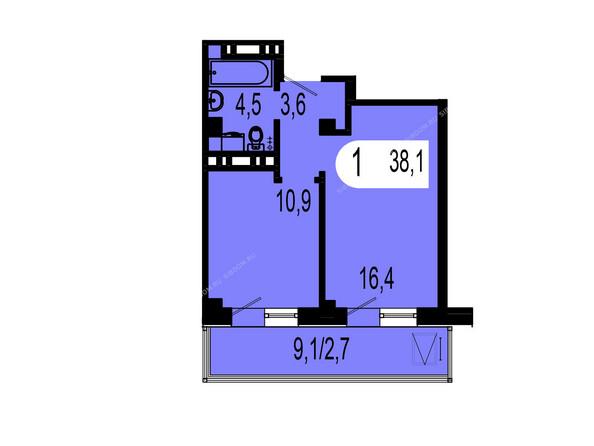 Планировки Жилой комплекс ТИХИЕ ЗОРИ мкр, 1 дом (Красстрой) - Планировка однокомнатной квартиры 38,1 кв.м