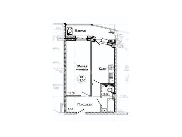 Планировки Жилой комплекс ГЛОБУС ж/к, 7 дом - Планировка однокомнатной квартиры 42 кв.м