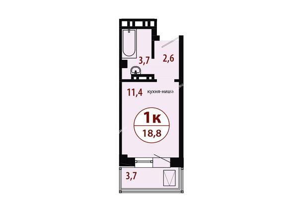СЕРЕБРЯНЫЙ мкр, квр 1, 1 дом: Секция 2. Планировка однокомнатной квартиры 18,8 кв.м