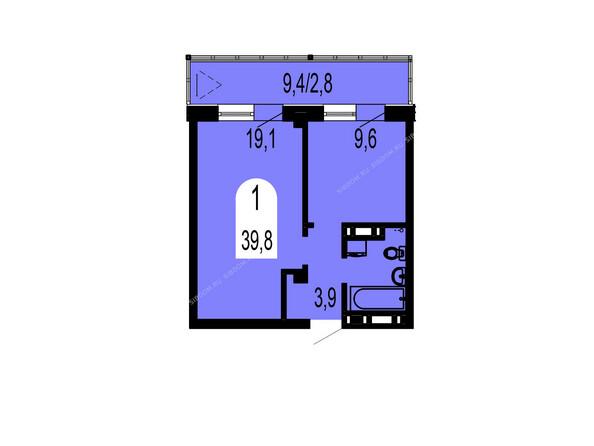 Планировки Жилой комплекс ТИХИЕ ЗОРИ мкр, 1 дом (Красстрой) - Планировка однокомнатной квартиры 39,8 кв.м