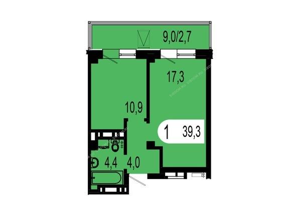Планировки Жилой комплекс ТИХИЕ ЗОРИ мкр, 1 дом (Красстрой) - Планировка однокомнатной квартиры 39,3 кв.м