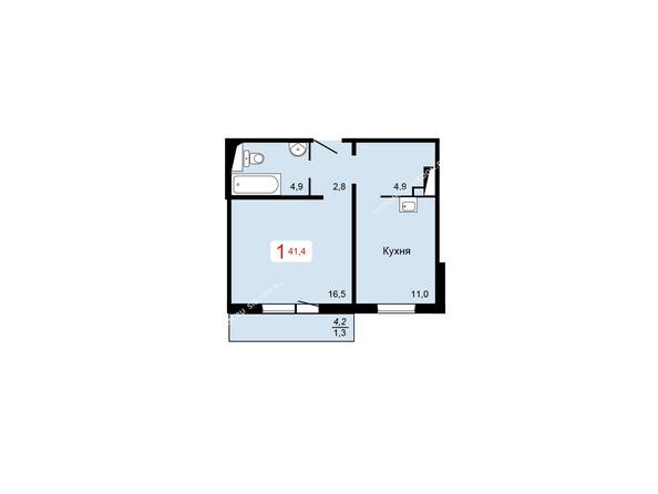 Планировки Жилой комплекс КУРЧАТОВА ж/к, 6 дом, 1 стр - 1 блок-секция. Планировка однокомнатной квартиры 41,4 кв.м