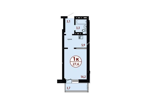 БЕЛЫЕ РОСЫ мкр, 26 дом: Секция №3. Планировка однокомнатной квартиры 27,6 кв.м