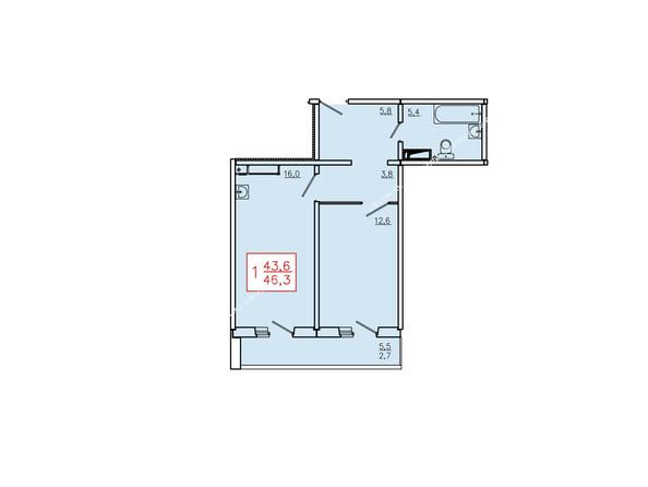 Планировка однокомнатной квартиры 46,3 кв.м. Этажи 10-16