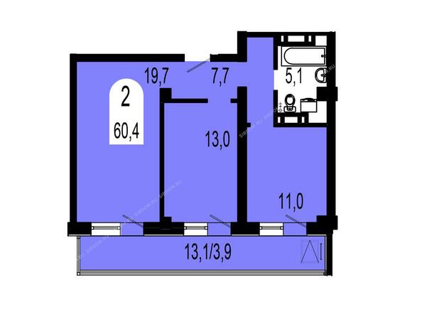 Планировки Жилой комплекс ТИХИЕ ЗОРИ мкр, 1 дом (Красстрой) - Планировка двухкомнатной квартиры 60,4 кв.м
