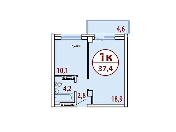 Планировки Жилой комплекс БЕЛЫЕ РОСЫ МКР, 22 дом - Секция №1. Планировка однокомнатной квартиры 37,4 кв.м