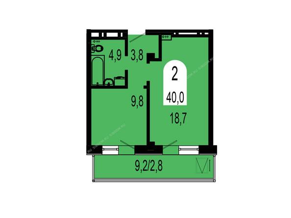 Планировки Жилой комплекс ТИХИЕ ЗОРИ мкр, 1 дом (Красстрой) - Планировка двухкомнатной квартиры 40 кв.м