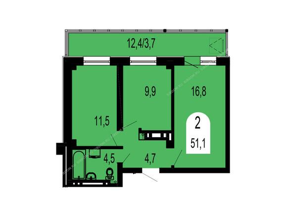 Планировки Жилой комплекс ТИХИЕ ЗОРИ мкр, 1 дом (Красстрой) - Планировка двухкомнатной квартиры 51,1 кв.м