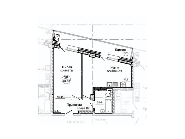 Планировки Жилой комплекс ГЛОБУС ж/к, 7 дом - Планировка двухкомнатной квартиры 48,68 кв.м