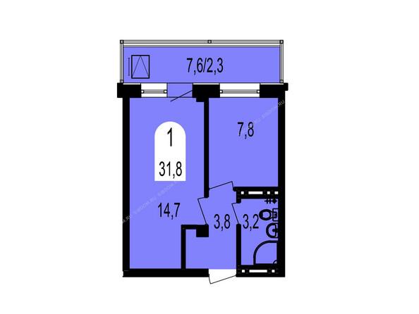 Планировки Жилой комплекс ТИХИЕ ЗОРИ мкр, 1 дом (Красстрой) - Планировка однокомнатной квартиры 31,8 кв.м