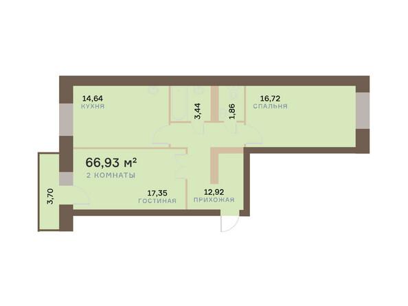 Планировки Жилой комплекс ЮЖНЫЙ БЕРЕГ мкр, 17 дом - Планировка двухкомнатной квартиры 68,04 кв.м
