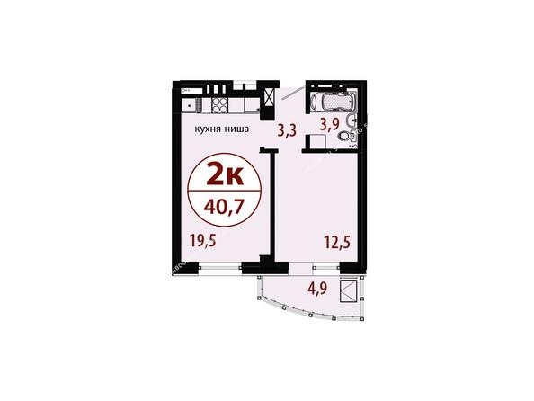 Планировки новостроек БЕЛЫЕ РОСЫ МКР, 25 дом - Секция 1. Планировка двухкомнатной квартиры 40,7 кв.м